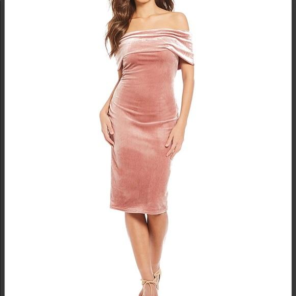 244022670968e Gianni Bini Off The Shoulder Velvet Dress Rose
